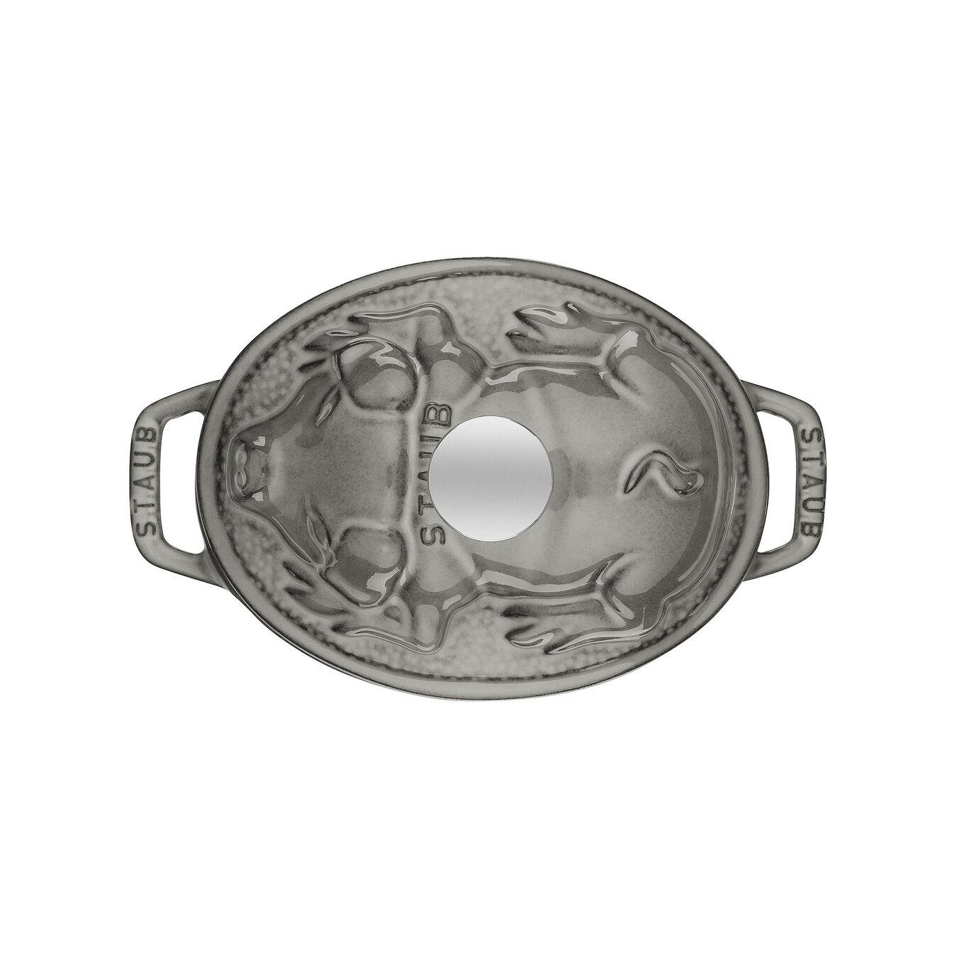 Cocotte 17 cm, Ovale, Gris graphite, Fonte,,large 3