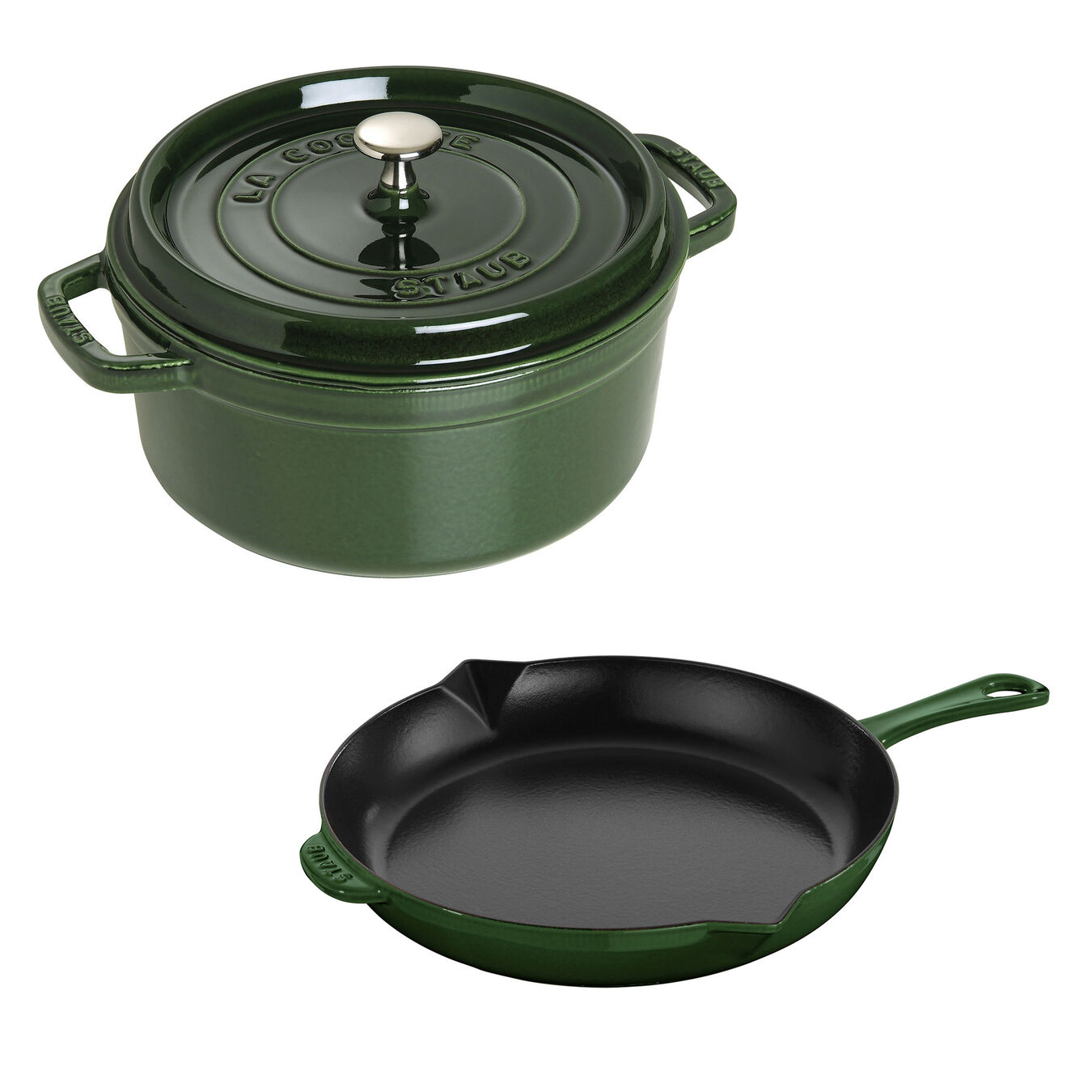 3-pc, Cocotte and Fry Pan Set, basil,,large 1