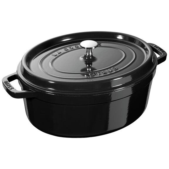 4.5-qt oval Cocotte, Shiny black - Visual Imperfections,,large