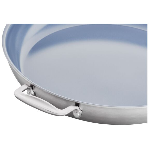 3-ply 14-inch Stainless Steel Ceramic Nonstick Fry Pan,,large