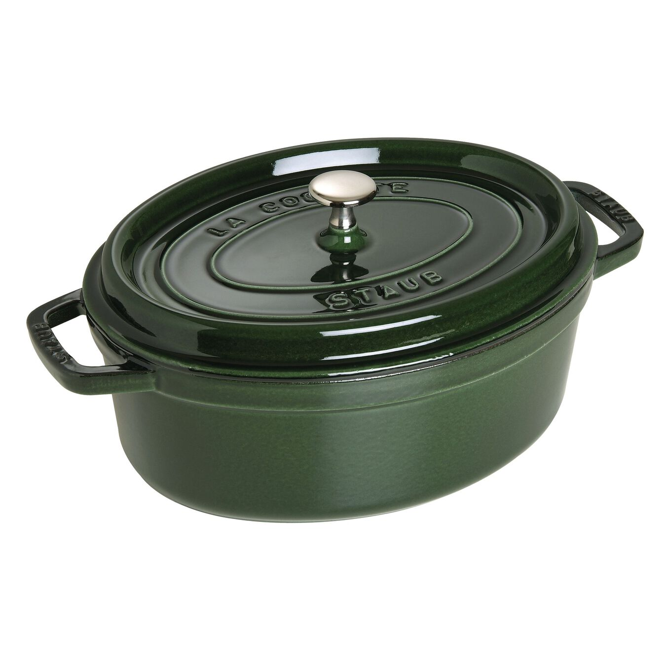 4.25 l Cast iron oval Cocotte, Basil-Green,,large 1