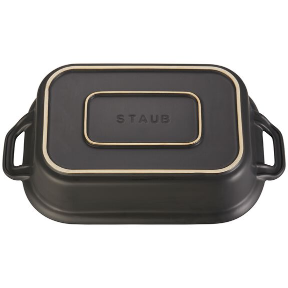 Ceramic Rectangular Covered Baking Dish, Black,,large 3