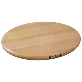 Staub Cast Iron - Accessories, 11.25 inch, oval, Magnetic Wood Trivet, brown