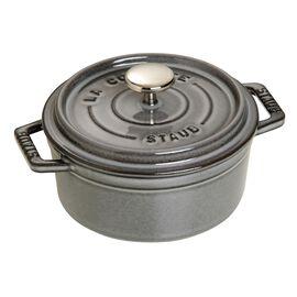 Staub Cast Iron, 0.5-qt Round Cocotte - Graphite Grey