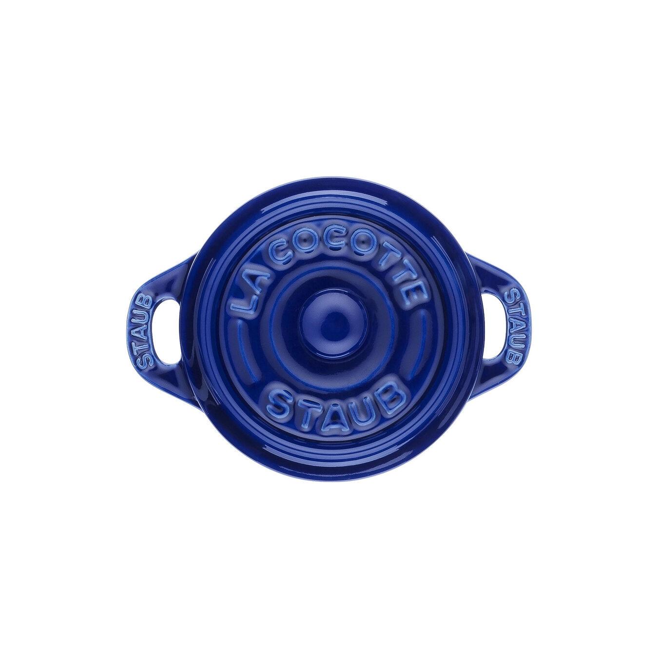 Mini Cocotte 10 cm, Rond(e), Bleu intense, Céramique,,large 3