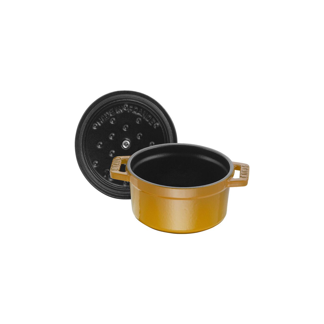Mini Cocotte 10 cm, rund, Senf, Gusseisen,,large 5