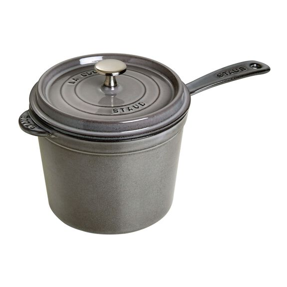 18-cm-/-7-inch Enamel Sauce pan, Graphite-Grey,,large 2