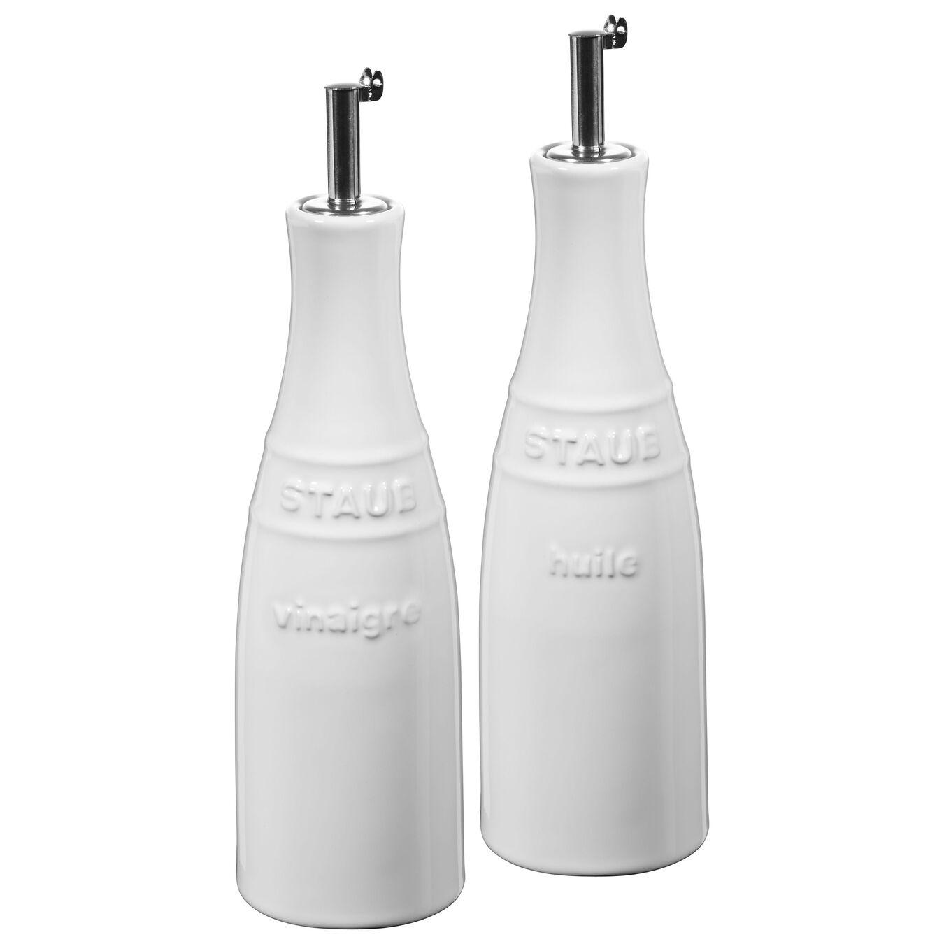 2-pcs / 250 ml Ceramic Set pour huile et vinaigre, Pure-White,,large 1