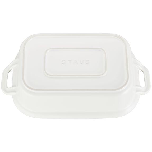 Ceramic Rectangular Covered Baking Dish, Matte White,,large 3