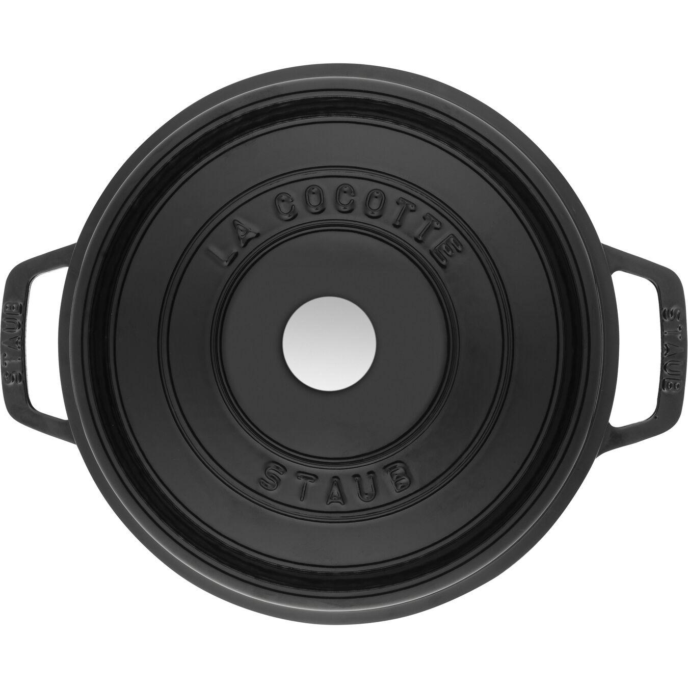 5 qt, round, Cocotte, shiny black,,large 5