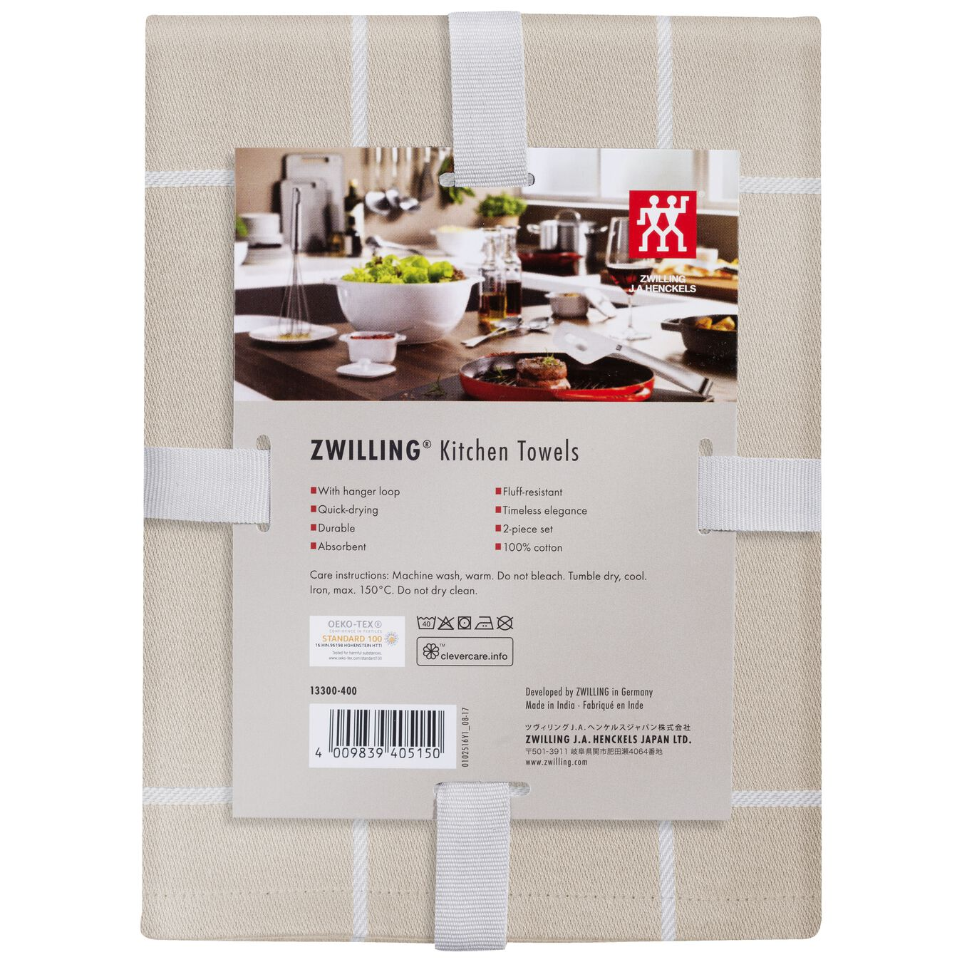 2 Piece Cotton Kitchen towel set checkered, Taupe,,large 2