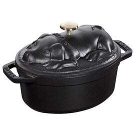 Staub La Cocotte, 1 l Cast iron oval Faitout, Black