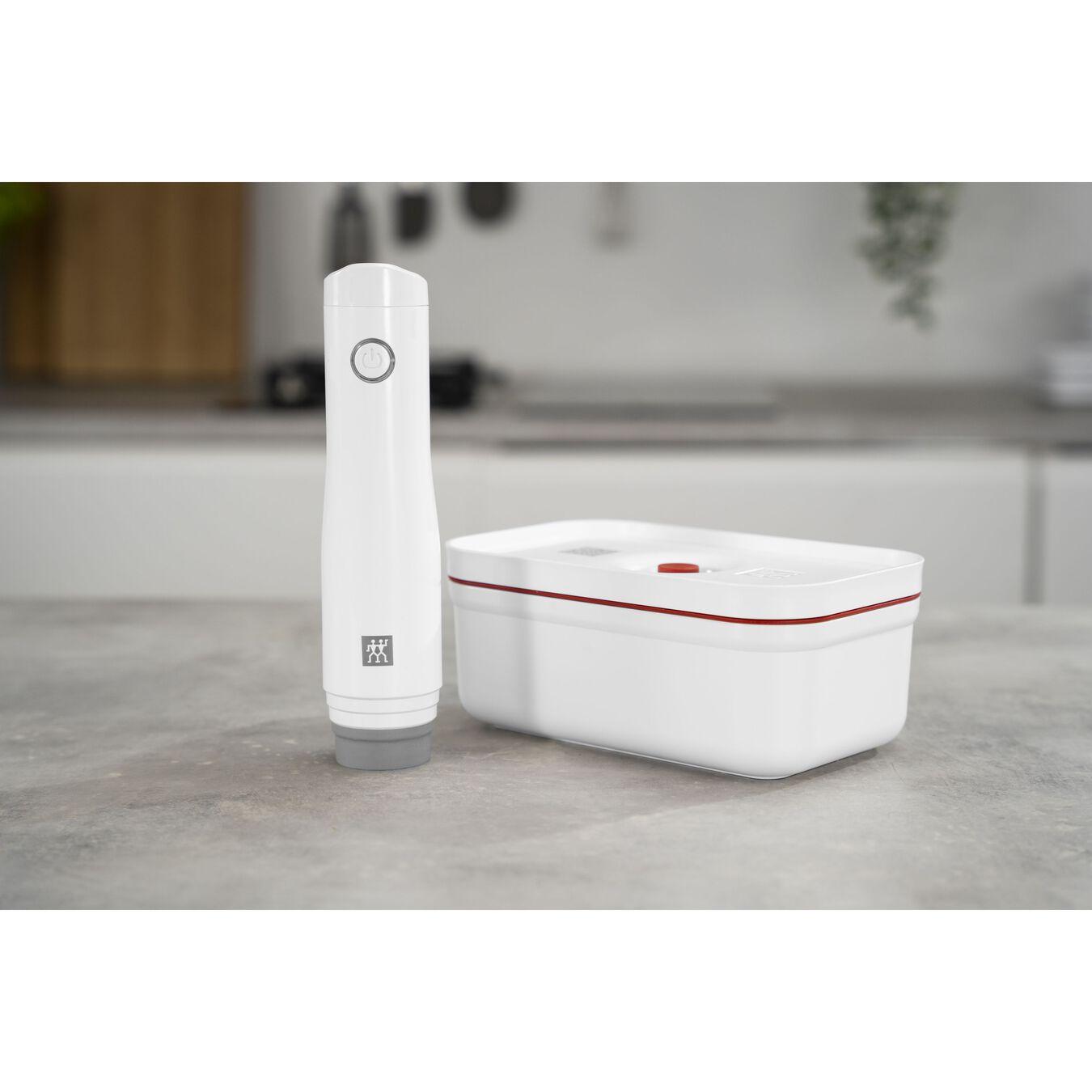 Vakuum Lunchbox, M, Kunststoff, Weiß-Rot,,large 6