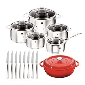 ZWILLING Essence, Cookware Set With Bonus Cast Iron French Oven and 8-pc Steak Knives, 10 Piece | round | 18/10 Stainless Steel