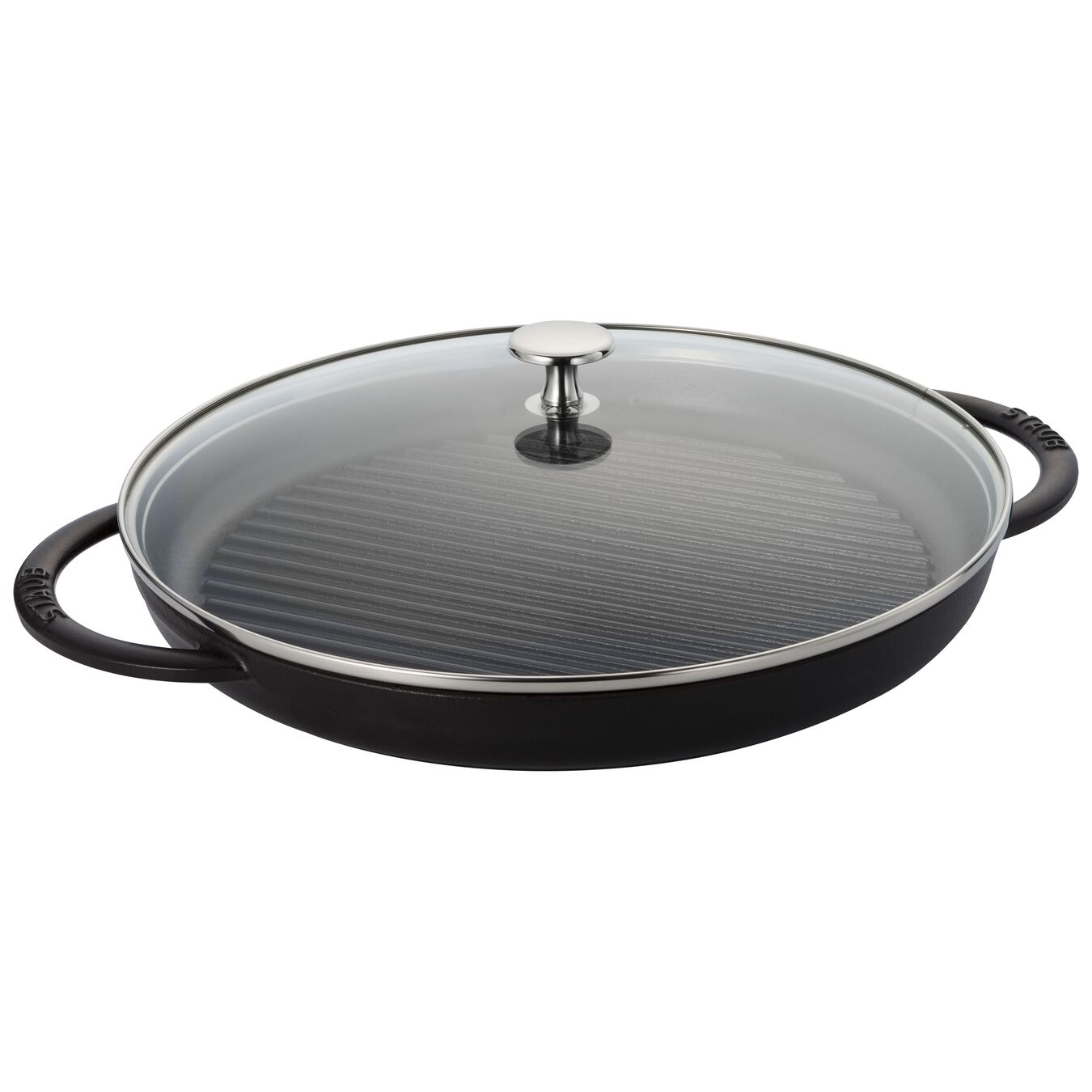 round, Grill pan with glass lid, black matte,,large 1