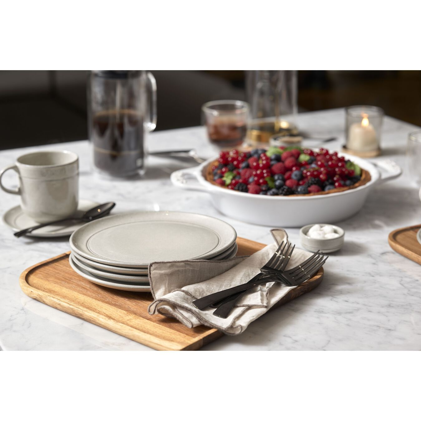 20 cm Ceramic round Assiette flat, White Truffle,,large 4