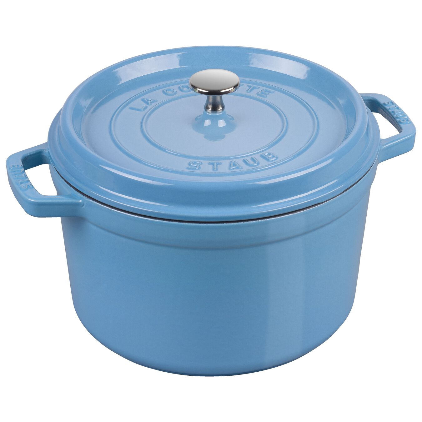 4.8 l round Tall cocotte, ice-blue,,large 1