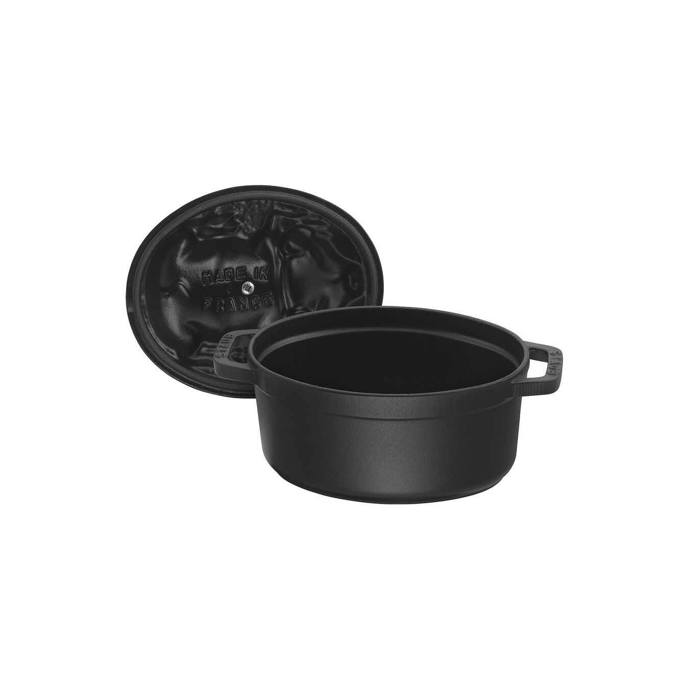 1 l Cast iron oval Faitout, Black,,large 6