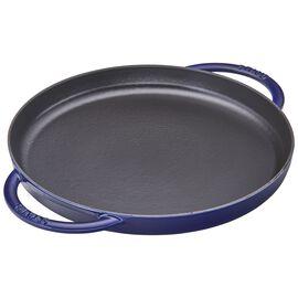 Staub Cast Iron, 12-inch Chicken al Mattone Griddle & Press Set - Dark Blue