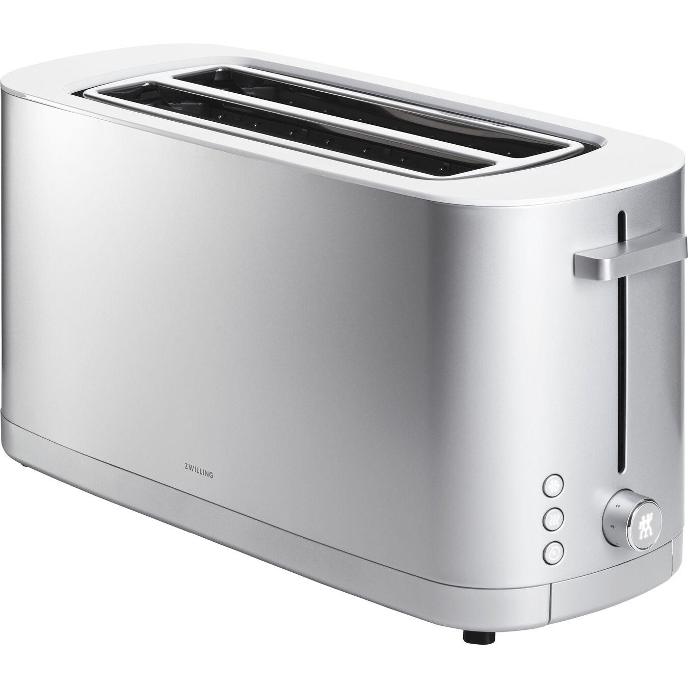 Toaster mit Brötchenaufsatz, 2 Schlitze lang, Silber,,large 1