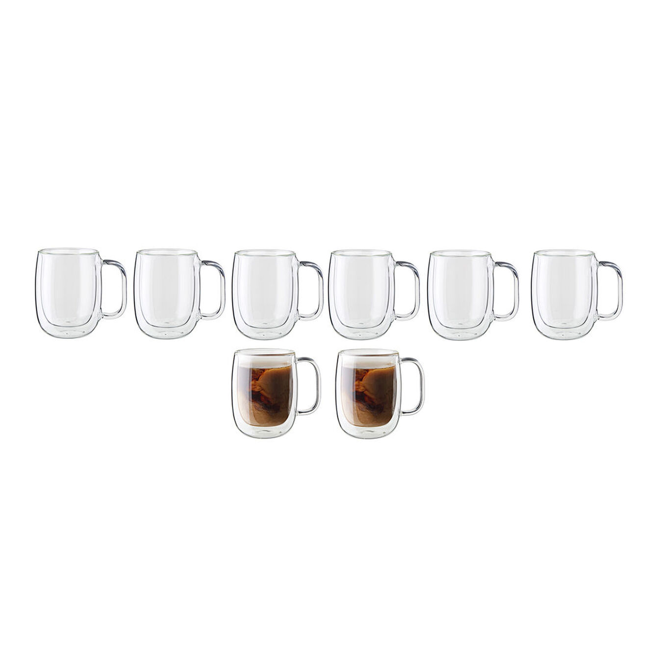 8-pc Double-Wall Glass Coffee Mug Set,,large 3