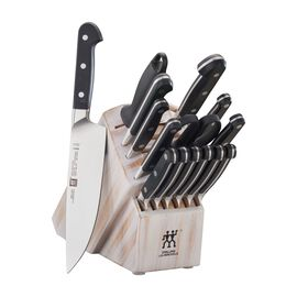 16-pc Knife Block Set, Rustic White