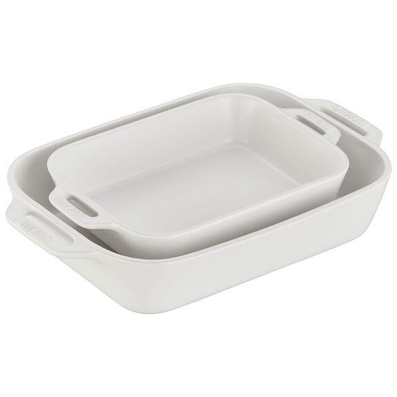2-pc Rectangular Baking Dish Set, Matte White, , large