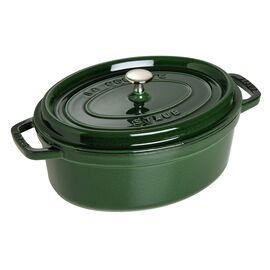 Staub Cast iron, 4.5-qt-/-29-cm oval Cocotte, Basil-Green