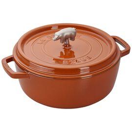 Staub Cast Iron, 6-qt Cochon Shallow Wide Round Cocotte - Burnt Orange