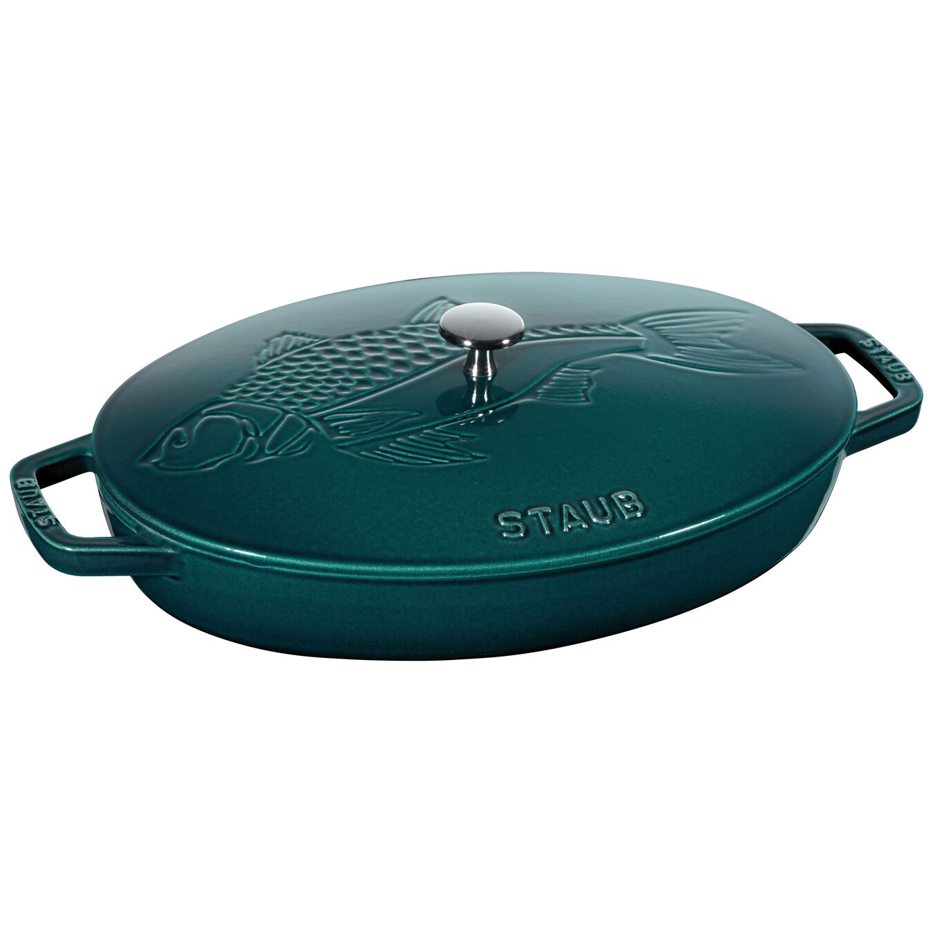 2.75-qt Oval Gratin with Fish Lid - Visual Imperfections - La Mer,,large 1