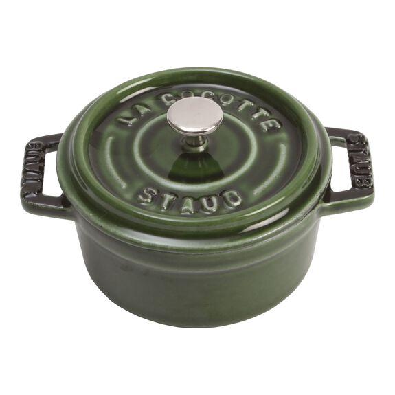 Mini Cocotte 10 cm, rund, Basilikum-Grün, Gusseisen,,large