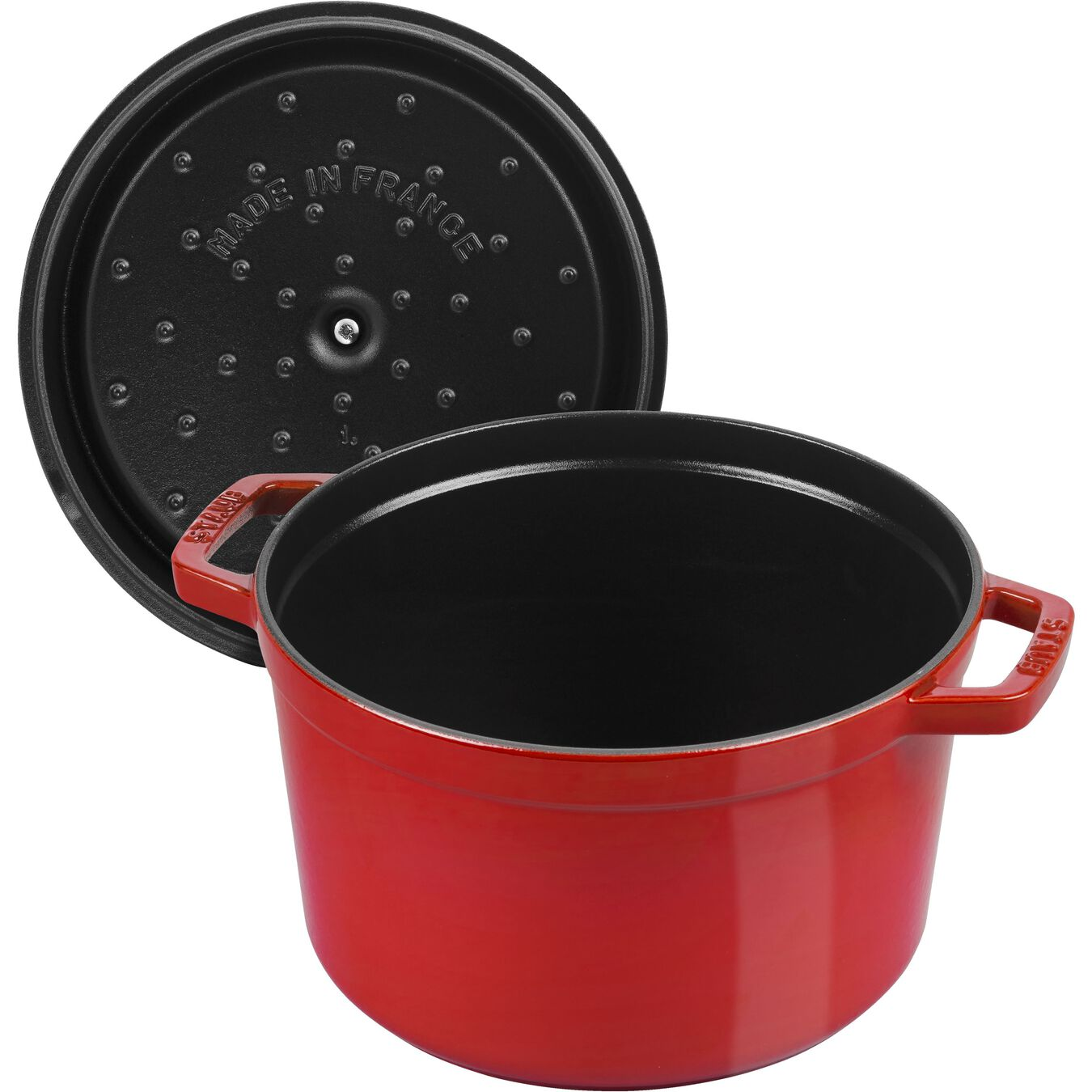 4.8 l Cast iron round Cocotte, cherry,,large 5