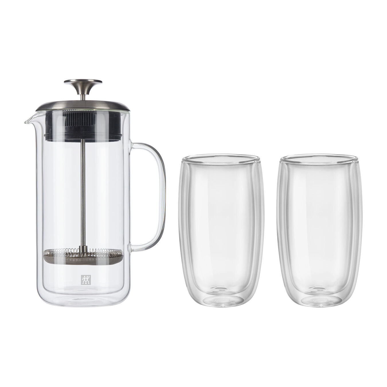 3-pc Double Wall French Press and Latte Glass Set,,large 1