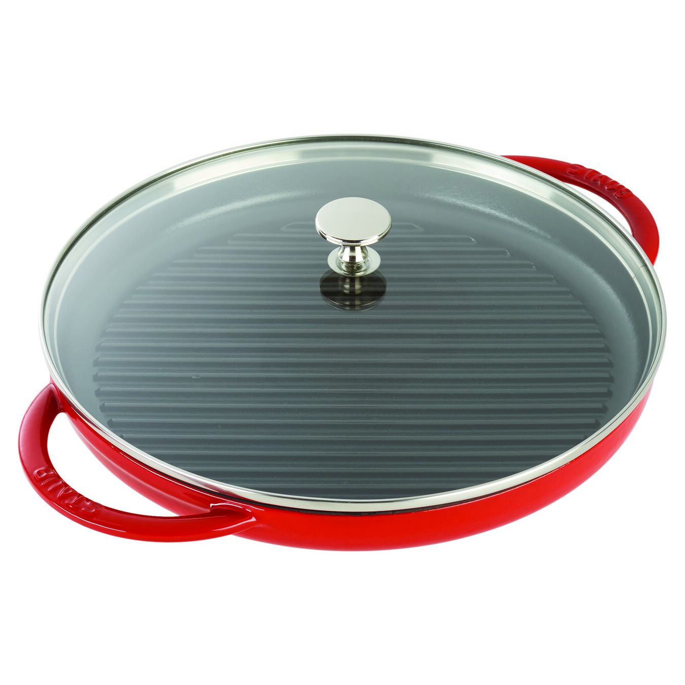30 cm Cast iron round Gril with glass lid, Cherry,,large 3