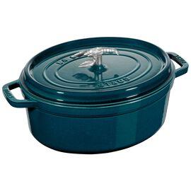 Staub Formes spéciales, Cocotte bouton homard 31 cm, Ovale, Blue La-Mer, Fonte