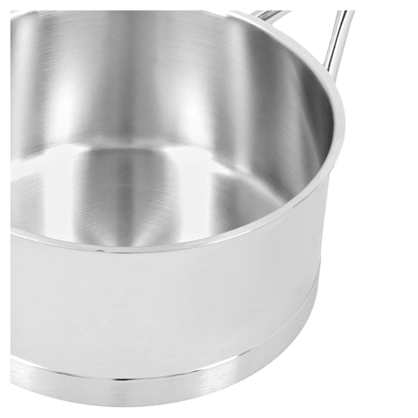 1.5 l round Sauce pan with lid, silver,,large 3