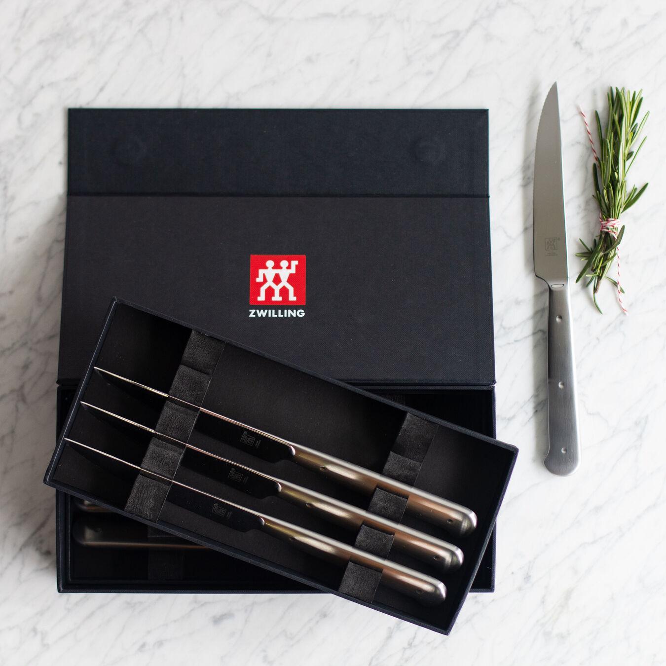 8-pc, stainless steel Porterhouse Steak Knife Set in Black Presentation Box,,large 5
