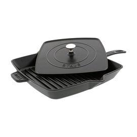 Staub Cast Iron, 12-inch Square Grill Pan & Press Set - Matte Black
