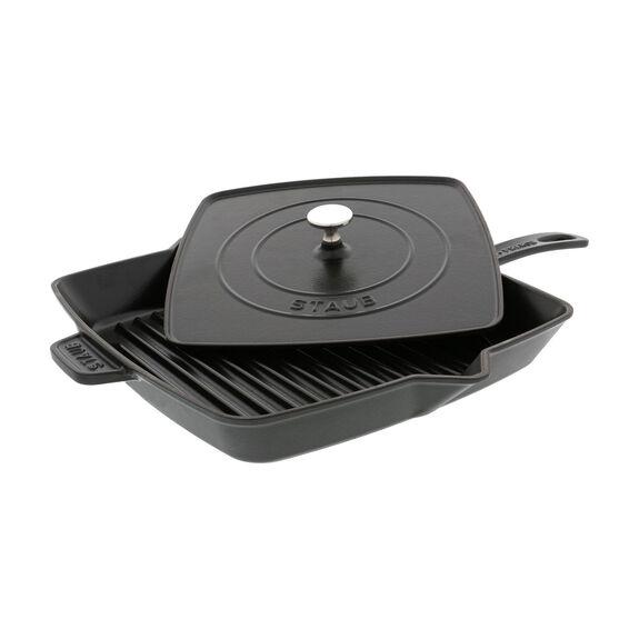 12-inch Square Grill Pan & Press Set - Matte Black,,large