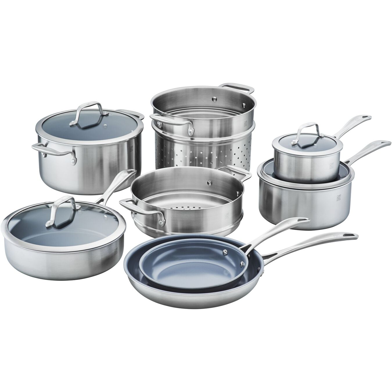 3-ply 12-pc Stainless Steel Ceramic Nonstick Cookware Set,,large 1