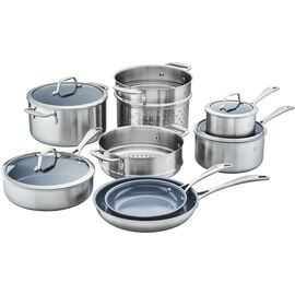 ZWILLING Spirit Ceramic Nonstick, 3-ply 12-pc Stainless Steel Ceramic Nonstick Cookware Set