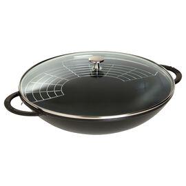 Staub Spécialités, 37 cm Cast iron Wok with glass lid, Black