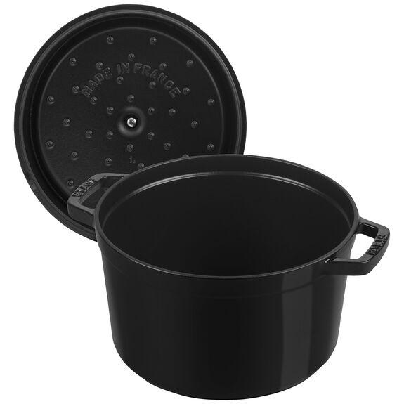 5-qt round Cocotte, Shiny black,,large 3