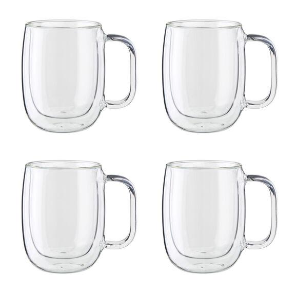 4-pc Double-Wall Glass Coffee Mug Set,,large