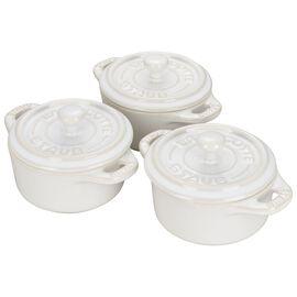 Staub Ceramics, 3-pc Mini Round Cocotte Set - Rustic Ivory