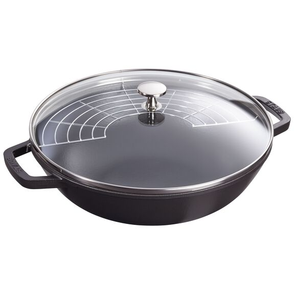 12-inch Enamel Wok with glass lid, Black,,large 3