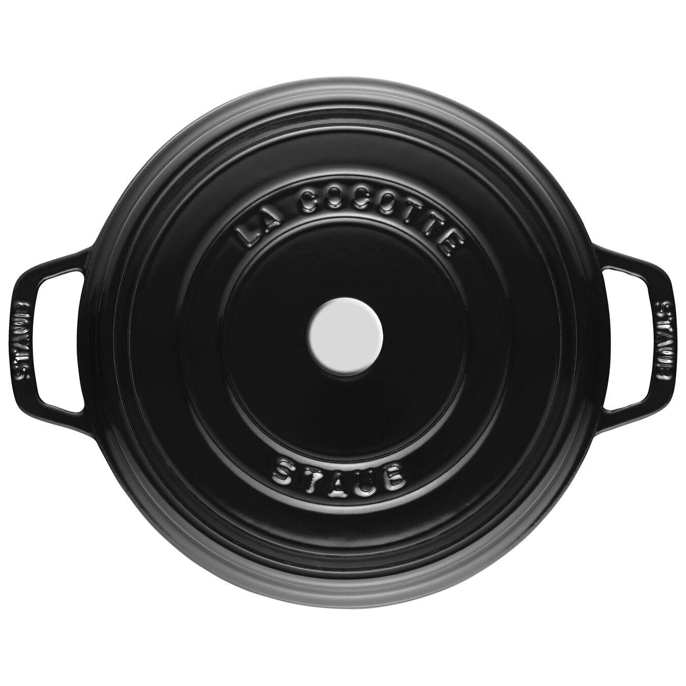 3.75 l Cast iron round Cocotte, Shiny-Black,,large 4