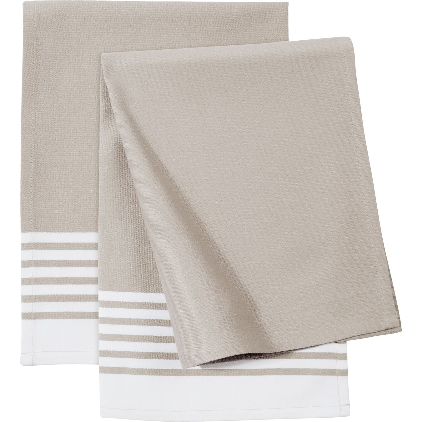 2 Piece 2 Piece Kitchen towel set striped, taupe,,large 1