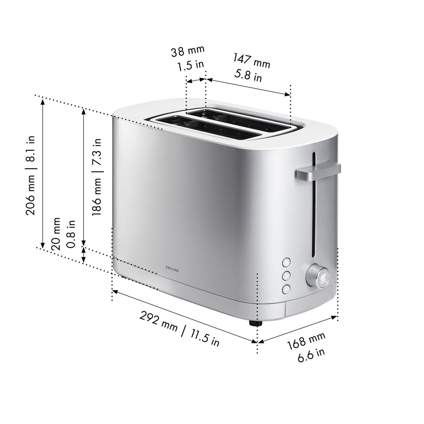 Toaster mit Brötchenaufsatz, 2 Schlitze kurz, Silber,,large 7