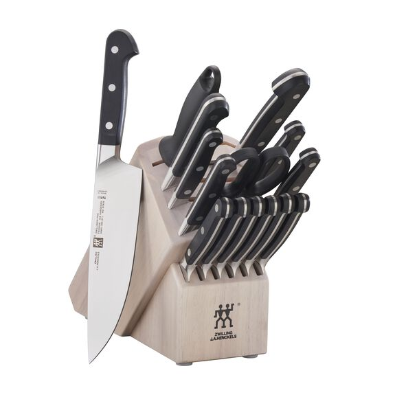 16-pc Knife Block Set, White, , large